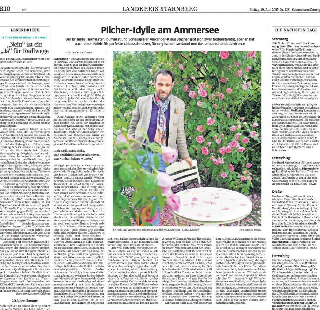 Portrait über Alexander-Klaus Stecher und dessen Herzensprojekt Die Goldene Deutschland in der Süddeutschen Zeitung vom 19. Juni 2015